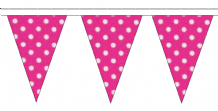 Pink and White Polka Dot Traditional 10m 24 Flag Polyester Triangle Flag Bunting